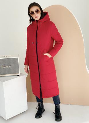 Красный лёгкий зимний пуховик длина миди.