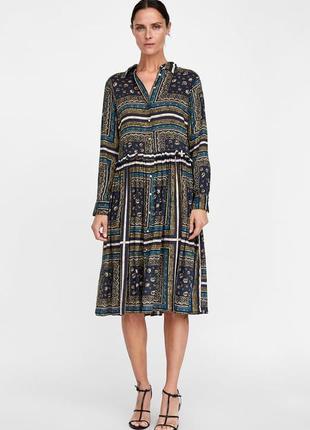 Платье рубашка в принт от zara