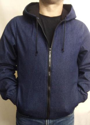 Джинсовая куртка с капюшоном большого размера