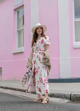 Льняное платье в цветочный принт zara original