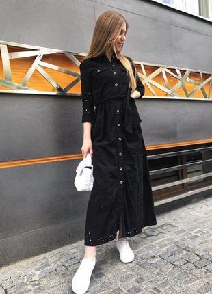 Платье рубашка с ажурной вышивкой zara original