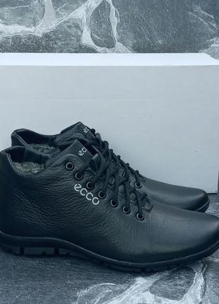Мужские зимние ботинки ecco classic winter boots кожаные,черны...