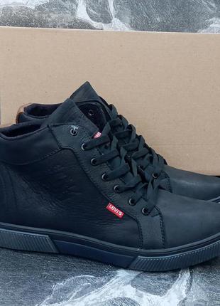 Мужские зимние ботинки levi's classic winter boots черные,кожа...