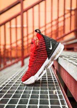 Красные мужские кроссовки nike lebron 16 red white/red/black💥