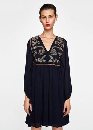 Платье с вышивкой бисером от zara original
