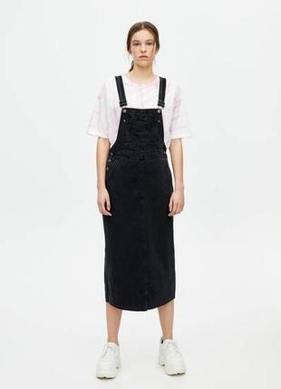 Джинсовое платье сарафан миди от pull&bear