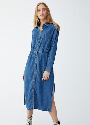 Джинсовое платье миди от pull&bear