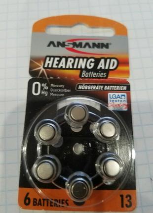 Батарейки ANSMANN. 13. Для слуховых аппаратов.