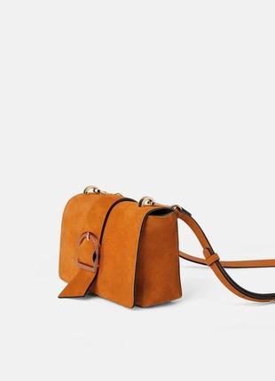 Замшевая сумка натуральная кожа zara