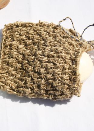 Мочалка мешочек для мыла 15х12 массажная натуральная из джута