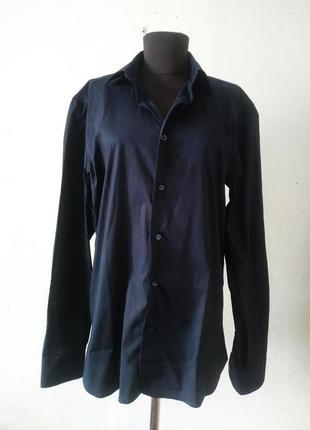 Рубашка темно синяя новая унисекс