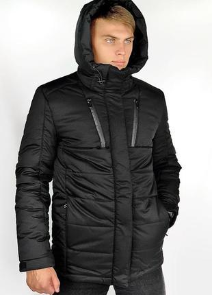 Зимняя парка куртка черная легкая и теплая на холлофайбере куп...