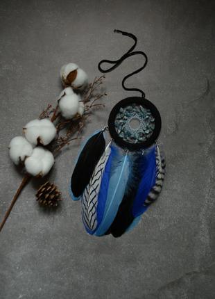 Ловец снов с натуральным аквамарином, оригинальный подарок, декор