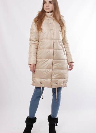 Женская зимняя длинная куртка стеганное пальто из плащевки...