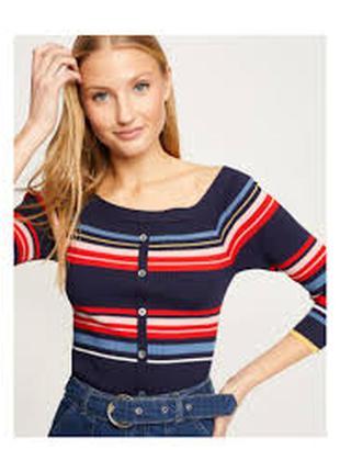 Полосатый свитер джемпер пуловер в полоску в рубчик