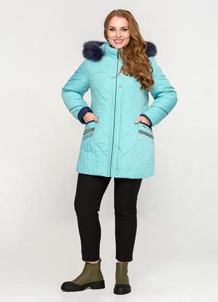 Женская зимняя бирюзовая куртка с капюшоном с натуральным мехом