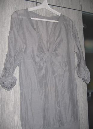 Серая блузка-туника шифон