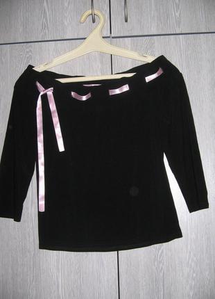 Стрейчевая черная майка-блузка look