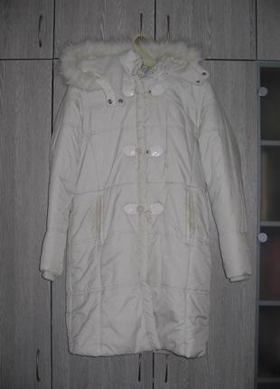Пальто теплое белое