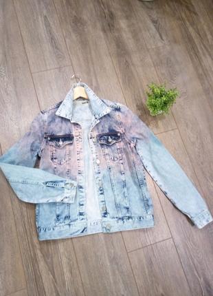 Голубая джинсовая куртка джинсовка жакет пиджак ВАРЕНКА хамелеон