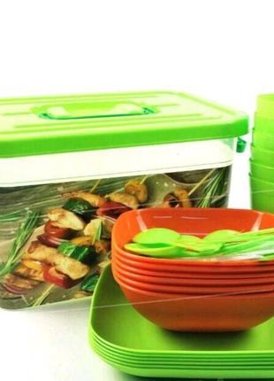 Набор пластиковой посуды для пикник (6 персон)