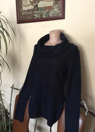 🔥стильный🔥длинный вязаный свитер с горлом с хомутом с отворотом