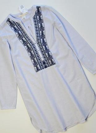 Стильное хлопковое платье с вышивкой вышиванка h&m