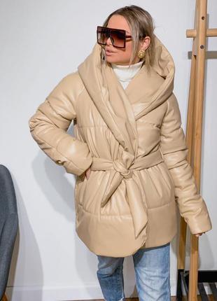 Укороченная куртка палатка из эко-кожи🥰, зима, 5 цветов