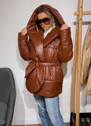Укороченная куртка палатка из мягкой  эко кожи, 2 цвета