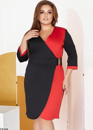 Контрастное платье большие размеры
