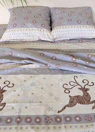 Новогодний комплект постельного белья олени полуторный