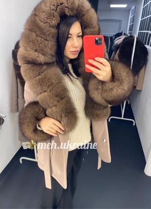 пальто с капюшоном, пальто короткое с натуральным мехом