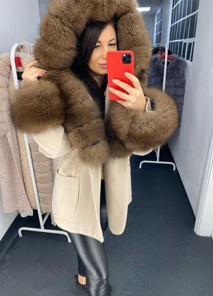 Короткое пальто с мехом, женское пальто с капюшоном