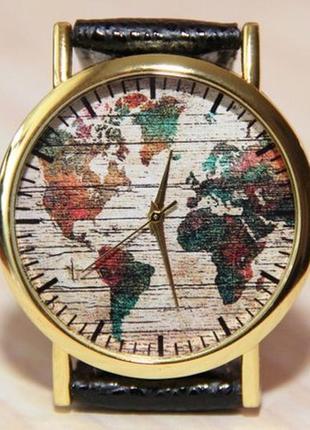Наручные часы карта мира. женские часы. мужские часы