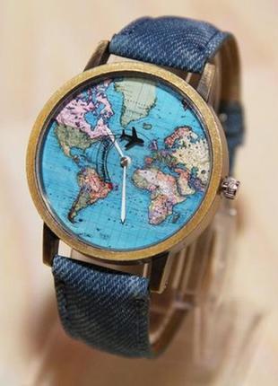 Мужские часы, часы карта мира, часы с самолетом, женские часы.