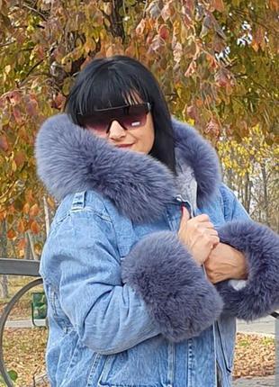 Джинсовая парка с капюшоном, джинсовая куртка с мехом