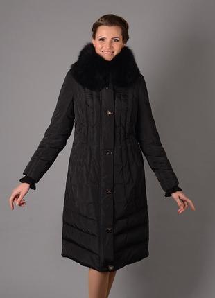 Женская длинная черная куртка пуховик с натуральным мехом песца