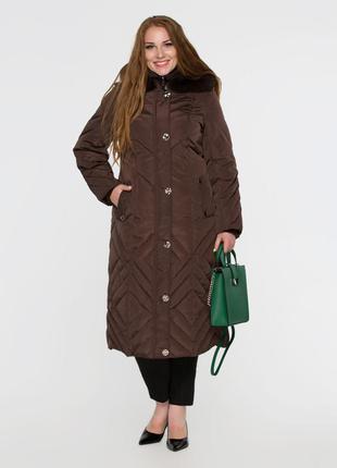 Женская зимняя длинная куртка пуховик с натуральным мехом