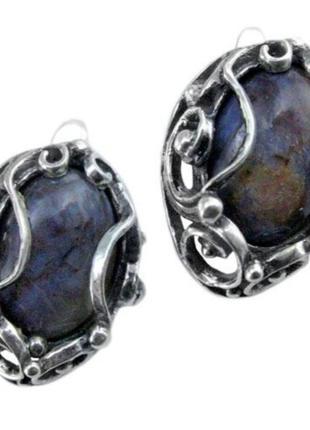 Серебряные серьги с натуральным камнем, 925, серебро, чернение