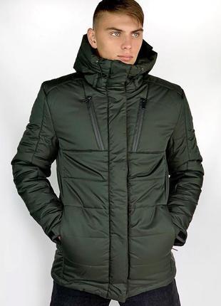 Зимняя парка куртка хаки легкая и теплая на холлофайбере купит...