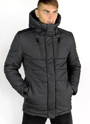 Зимняя парка куртка серая легкая и теплая на холлофайбере купи...