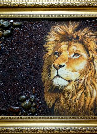 """Картина из янтаря """"Лев"""" 40*60см"""