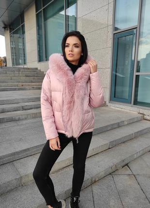 Зимняя куртка с натуральным мехом качество люкс в размерах
