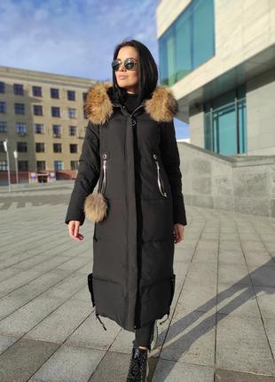 Зимний длинный пуховик в размерах качество люкс