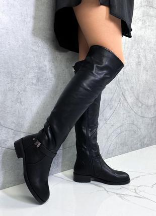 ❤ женские черные зимние сапоги ботфорты ❤