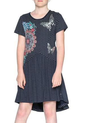 Красивое детское платье темно-синего цвета в полоску desigual ...