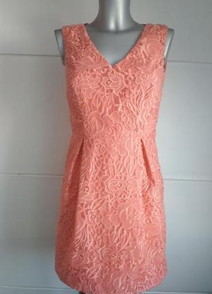 Нарядное кружевное платье marks&spencer персикового цвета