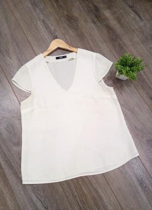 Белая молочная блуза прямого кроя с Коротким  рукавом А-силуэт