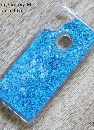 Чехол с блестками для Samsung Galaxy M11 (SM-M115), синий