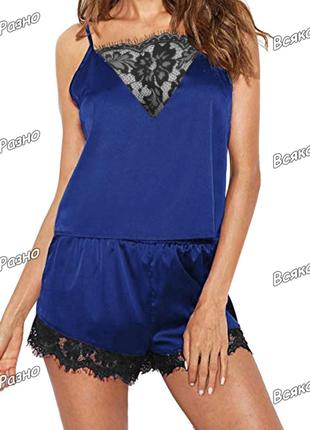 Женская пижама синего цвета: шорты и майка.